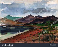 Landscape. Watercolor sketch of a mountain landscape against a lake.