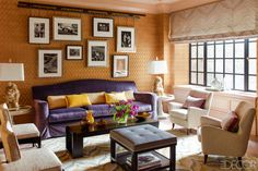 two pair of chairs, an ottoman AND a coffee table.... lots of furniture here, but it all works beautifully  Steven Gambrel Manhattan Home - Manhattan Apartment Design - ELLE DECOR