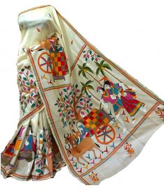 Off White Silk Kantha Work Designer Saree