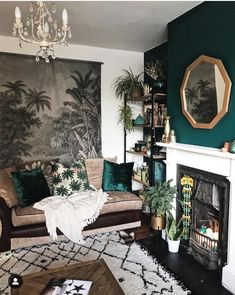moody living room vibes // green accent wall // geometric gold mirror // white a., - moody living room vibes // green accent wall // geometric gold mirror // white a…, Decor, Living Room Green, Moody Living Room, Rooms Home Decor, Cheap Home Decor, House Interior, Living Decor, Green Accent Walls, Living Room Designs