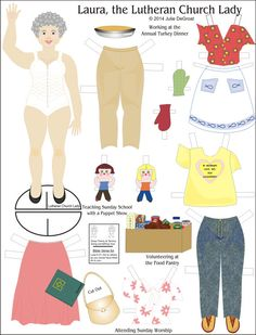 Laura the Lutheran Church Lady Paperdoll Paper Doll  2-page Set