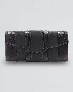 Lindsay Python & Stingray Clutch Bag, Black by Khirma Eliazov