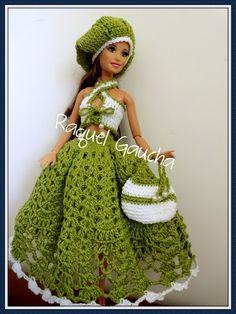 #Crochet #Doll #Barbie #Muñeca #Roupa #Saia #Purse #Chapéu #Bolsa #Hat #Top #RaquelGaucha