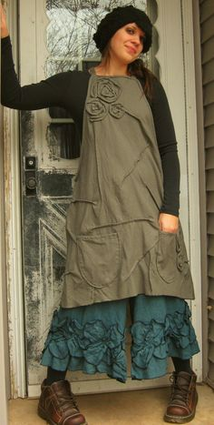 Rose Scrunchy Apron Jumper by sarahclemensclothing on Etsy, $149.00