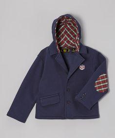 Navy Plaid Hooded Blazer - Toddler #zulilyfinds