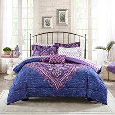 Mainstays Teens' Grace Purple Floral Reversible Medallion Bedding FULL Comforter Sets for Girls Piece in a Bag) Kids' Bedding Sets & Collections Full Bedding Sets, Twin Bed Sets, Complete Bedding Set, Bed, Beige Bedding Sets, Bed In A Bag, Beige Bed, Purple Bedding, Dorm Bedding