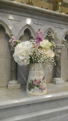 pretty jugs of flowers by Posy Barn