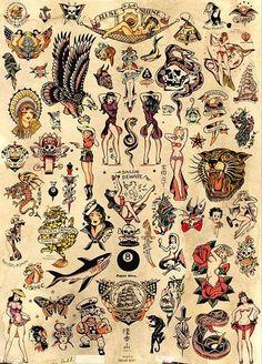 Sailor Jerry Old School Vintage Tattoo Flash Poster Print Sailor Jerry Flash, Trendy Tattoos, New Tattoos, Tattoos For Guys, Small Tattoos Men, Tatoos, Flash Art Tattoos, Tattoo Flash Sheet, Desenhos Old School