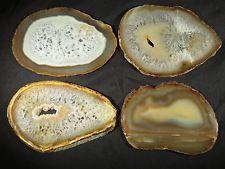 """Set Of 4 X Large Purple Agate Slice Geode Slab Lot of Coasters Specimens 4"""""""