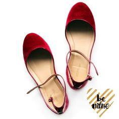 Zara Basic ruby red velvet flats Hello Valentine! Adorable ruby red velvet flats with patent ankle straps and piping detail.  These are new with tags but the right shoe has a little wear on the patent piping from store wear. Hardly noticeable. Zara Shoes