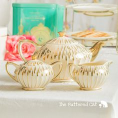 FREE WORLDWIDE SHIPPING Elegant cream and gold Sadler teapot and matching creamer, for weddings and special occasions by TheButteredCat on Etsy https://www.etsy.com/listing/228812161/free-worldwide-shipping-elegant-cream