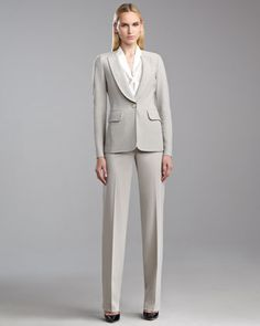 Boucle-Knit Blazer, Cap-Sleeve Ascot Blouse & Diana Venetian Pants by St. John Collection at Neiman Marcus.