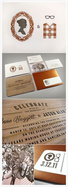 Cameo and Spectacles Letterpress and Wood Invitations via @WedOverHeels ®  #themodernjewishwedding.com