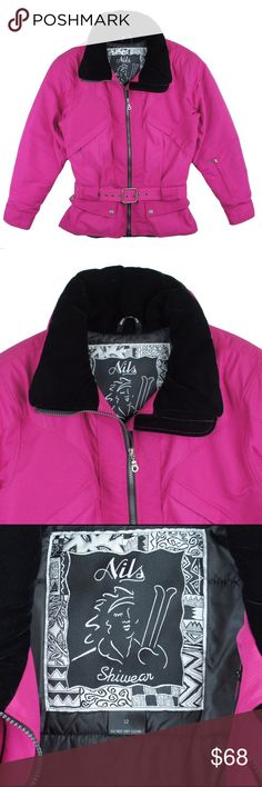 """NILS Skiwear Hot Pink Ski Jacket Absolutely excellent condition. Worn once if that. This hot pink ski jacket from NILS Skiwear features a black velvet collar, detachable belt at waist, front pockets and hidden front zip pockets by the bust. Made of nylon and filled with a super warm polyfill. Measures: bust: 44"""", total length: 26"""", sleeves: 25"""" Nils Jackets & Coats Puffers"""