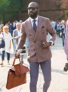 Khaki double breasted blazer, tie, printed pants