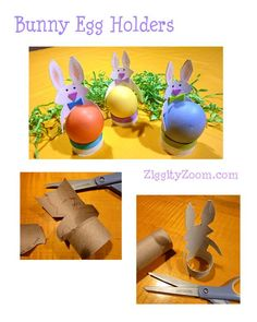 How to make a bunny Easter egg holder out of an empty toilet paper roll