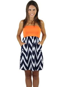 Game Day Short Chevron Dress With Pockets – Navy And Orange