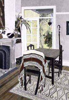 CRESSIDA CAMPBELL  Interior with Striped Cloth (2002)
