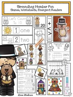 Come Do Some Groundhog Day Activities With Me! I take advantage of all of the February holidays to practice a variety of skills with an interest. Groundhog Day Activities, Ground Hog, February Holidays, Emergent Readers, Math Skills, Activity Centers, Fun Games, Counting, Numbers