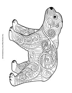 Bear Adult Coloring Pages Fresh Winter Coloring Pages Ebook Baby Polar Bear Polar Bear Coloring Page, Bear Coloring Pages, Flower Coloring Pages, Mandala Coloring, Adult Coloring Pages, Coloring Sheets, Coloring Books, Winter Art Projects, Art Projects For Adults