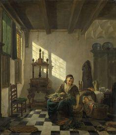 Abraham van Strij (I) | The Housewife, Abraham van Strij (I), 1800 - 1811 | De huisvrouw. Interieur met een moeder zittend bij de wieg van haar kind. De vrouw heeft op schoot een mand met groente. Links in de doek van de kamer staat een pers.