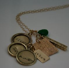 Handstamped family tree charm necklace by HammeringRedhead on Etsy, $80.00