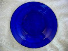 Vintage Cobalt Blue Glass Rimmed Plate - MORE AVAILABLE