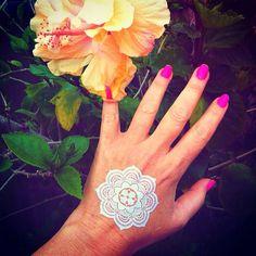 Henna Bohemian White Lotus Flower mandala by Agirlnamedglitter