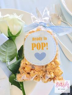 """Ready to Pop"" popcorn favors from A Royal Baby Shower on Kara's Party Ideas 