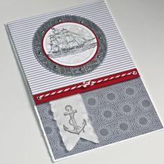 Nautical Card ocean sailing ship The Open Sea FlebbeArt Masculine Birthday Cards, Birthday Cards For Men, Masculine Cards, Male Birthday, Scrapbook Cards, Scrapbooking, Nautical Cards, Nautical Banner, Nautical Theme