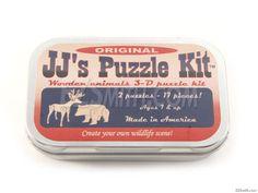 Puzzle - Deer and Bear - Parts Kit 3d Puzzles, Wooden Puzzles, Animal Puzzle, Hobby Kits, Wooden Animals, Metal Box, 3 D, Deer, Reindeer