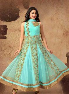 Sky Blue wedding wear anarkali churidar kameez in net G15212