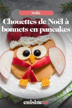 Cette chouettes de Noël en pancakes est un dessert à préparer avec les enfants.  #recette#cuisine#pancakes#enfant #noel#fete#findannee #fetesdefindannee Pancakes, Macaron, Breakfast, Desserts, Christmas, Xmas, Queso Blanco, Truffle, Blueberries