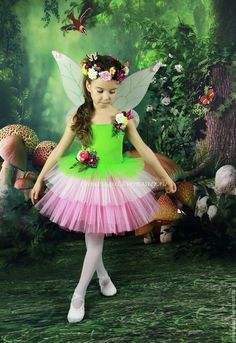 Costume Flower Fairies - buy or order in an online shop on Livemaster - Moscow Little Girl Costumes, Girls Dance Costumes, Toddler Costumes, Flower Costume, Costume Dress, Baby Girl Dresses, Baby Dress, Little Girl Fashion, Kids Fashion