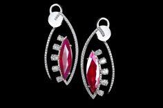 KAVANT & SHARART, Ruby with diamonds earring.