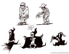 Horror-Figuren als lustige Comic-Figuren