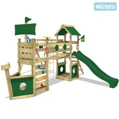 Vintage Details about WICKEY StormFlyer Climbing Frame Wood Swing Set Slide Outdoor Garden
