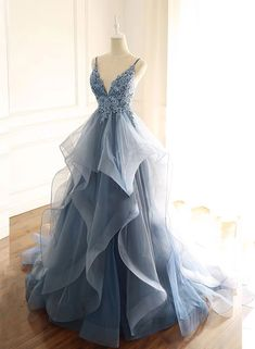 Ruffle prom dress - Blue Gray Tulle V Neck Long Ruffles Prom Dress, Lace Evening Dress from Sweetheart Dress – Ruffle prom dress Pretty Prom Dresses, Lace Evening Dresses, Cheap Prom Dresses, Elegant Dresses, Beautiful Dresses, Cute Dresses, Lace Dress, Dance Dresses, Formal Dresses