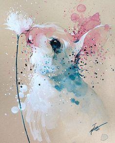 Tilen Ti - Bunny watercolor with gouache painting art print Gouache Painting, Painting & Drawing, Bunny Painting, Watercolour Paintings, Watercolors, Watercolor Images, Watercolor Ideas, Watercolor Drawing, Lapin Art