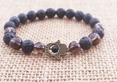 Hamsa Lava Stone Smoky Crystal Mala Bracelet, Fatima's Hand, Spiritual Healing, Root Chakra, Wrist Mala, Yoga