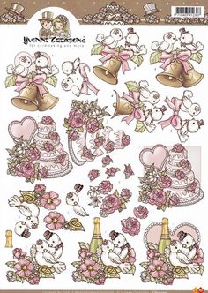 A Lot Of Useful Information On Weddings 3d Cards, Cool Cards, Art Deco Cards, 3d Sheets, Blue Nose Friends, Image 3d, Cute Coloring Pages, Decoupage Vintage, Scrapbook Cards