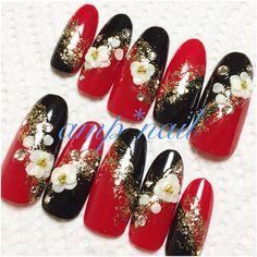 3D花和柄ネイル 赤×黒