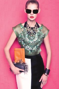 Spring 2013 Trend: Passion for Patterns  (Nanette Lepore's silk top; Lotus Grace's polyester skirt; Cass & Co.'s nylon and spandex top; Erickson Beamon's necklace; Juicy Couture's (orange) clutch; BCBG Max Azria's (black) clutch; Low Luv's bracelet; Kara Ross' cuff; House of Harlow's ring; Elizabeth and James' sunglasses.) [Photo by Eli Schmidt]