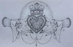 Claddagh design by Nina, Beautiful Freak Tattoo Belgium