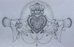 Claddagh design by Nina, Beautiful Freak Tattoo Belgium - This would make a great cover up for my tramp stamp