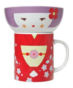 Another great find on #zulily! Red Kimono Bowl & Mug Set by Miya Company #zulilyfinds