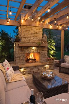 Outdoor string light inspiration with photo from Kansas City Homes and Style A step-by-step tutorial how to hang outdoor cafe' style string lights for your covered patio or deck. Create an outdoor living space you love. Outside Fireplace, Fireplace Set, Backyard Fireplace, Fireplace Outdoor, Patio Ideas With Fireplace, Outdoor Fireplace Designs, Outdoor Patio Decorating, Contemporary Outdoor Fireplaces, Outdoor Decor