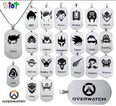 10pcs/lot HOT sale overwatch necklace Stainless steel game torque 22style of hero logo pendant Hero alliance decorations