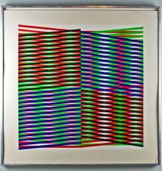 Carlos Cruz-Diez Vintage c.1970 Modernist OP-Art Signed Print, Aditions Colors 4 #Modernism
