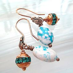 Gemstone Earrings/Turquoise by DarlenesGlassGarden on Etsy, $18.00
